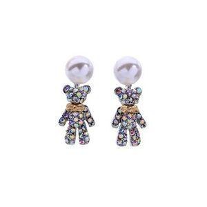 Aurora Borealis Crystal Bear & Pearl Drop Earrings